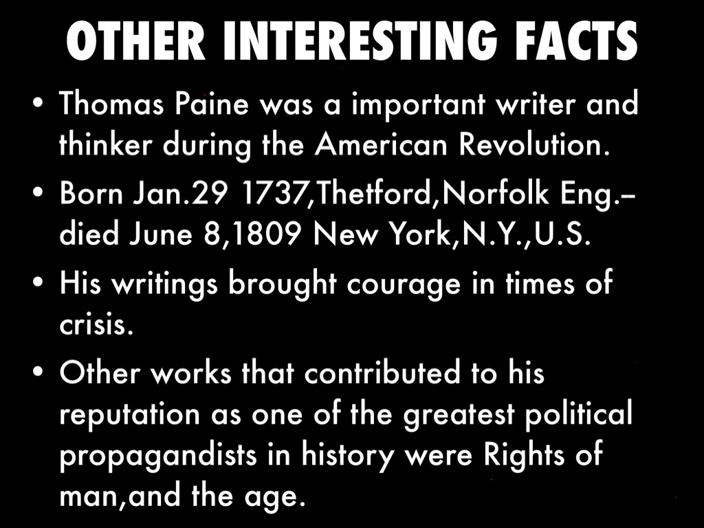 Thomas Paine By Shawn Ramirez - American revolution facts