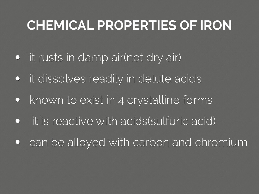 Chemical Properties Of Element Iron