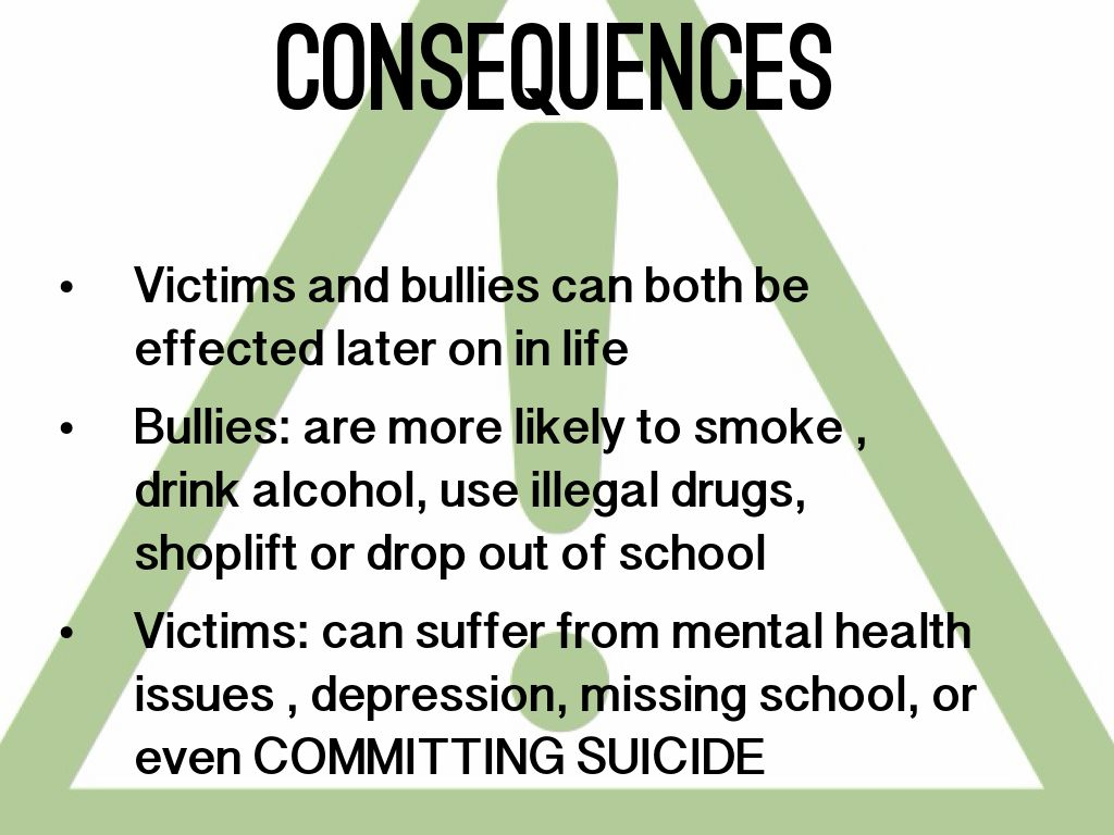 the negative outcomes of bullying mental health issues substance abuse and suicide Kids who were frequently bullied in 2nd grade have a greater risk of mental health schizophrenia and substance abuse of bullying may leave worse mental.
