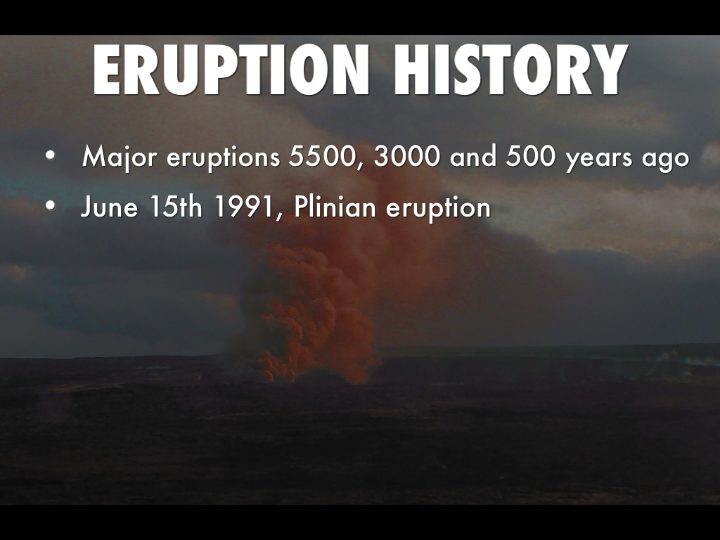 a history of the eruption of mt pinatubo on june 15th 1991 Where: mount pinatubo, philippines, asia when: june 12th-15th, 1991 type of volcano: strato or composite volcano type of eruption: explosive - the second biggest eruption this century.