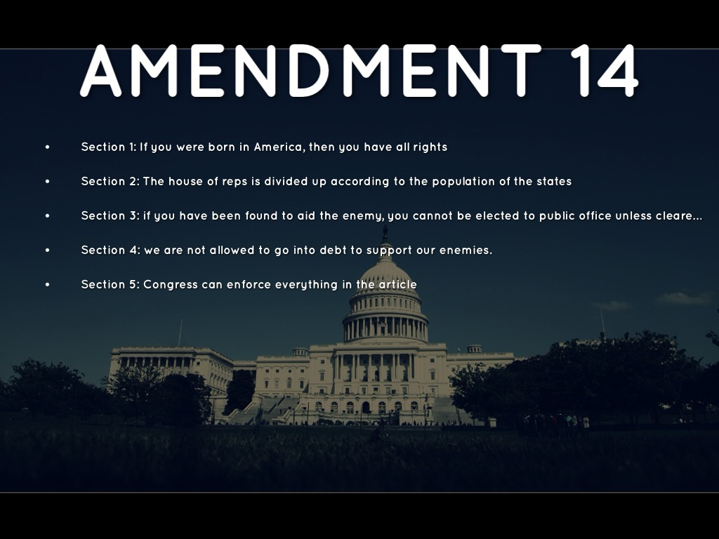14 amendment The fourteenth amendment, section 1 - reconstruction amendments in the wake of the civil war, several amendments to the constitution were added to remedy some of the societal problems that had led to that war.