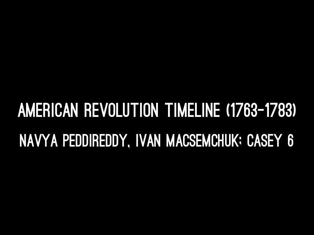 American Revolution Timeline (1763-1783)