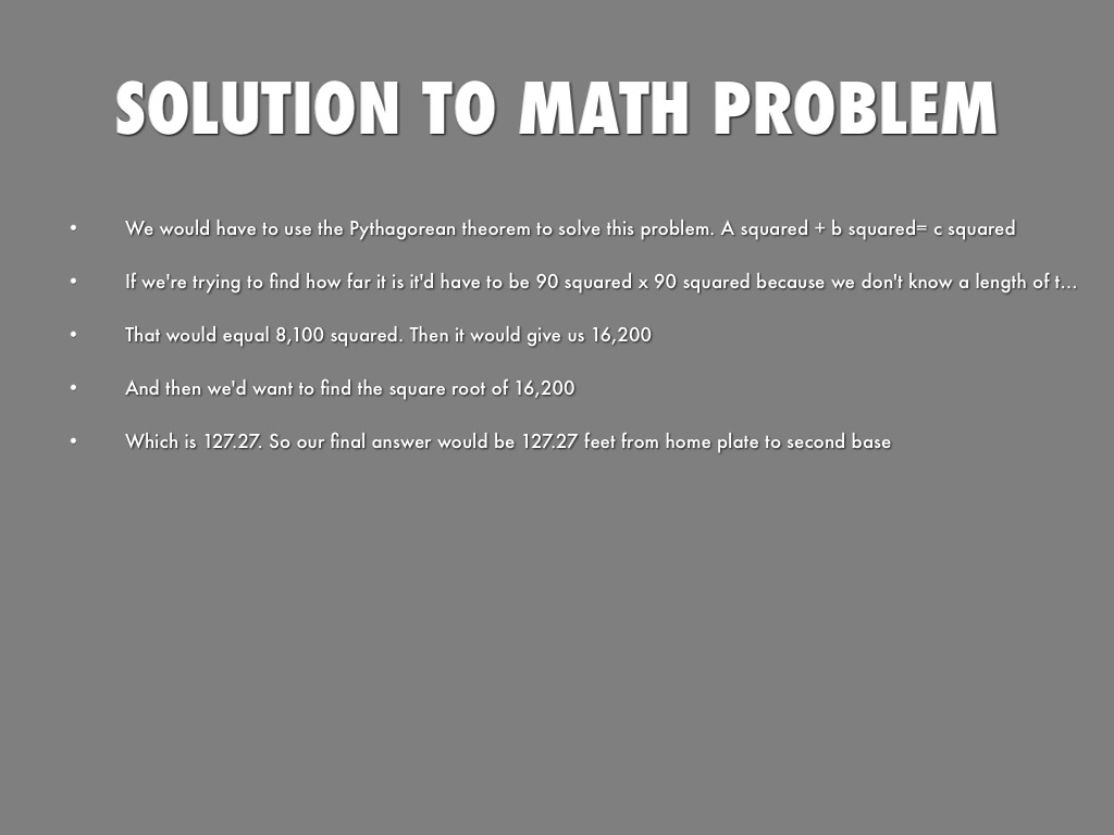solution to math problems