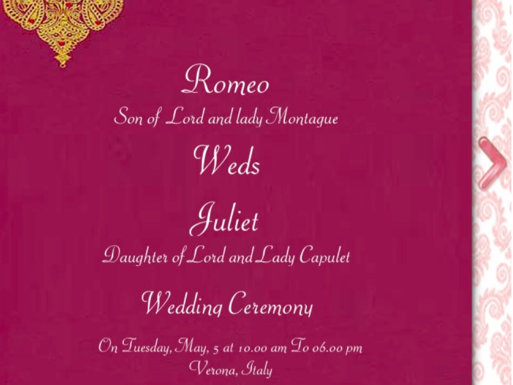 Wedding Invitations Indianapolis: Romeo And Juliet By Davis Saldana
