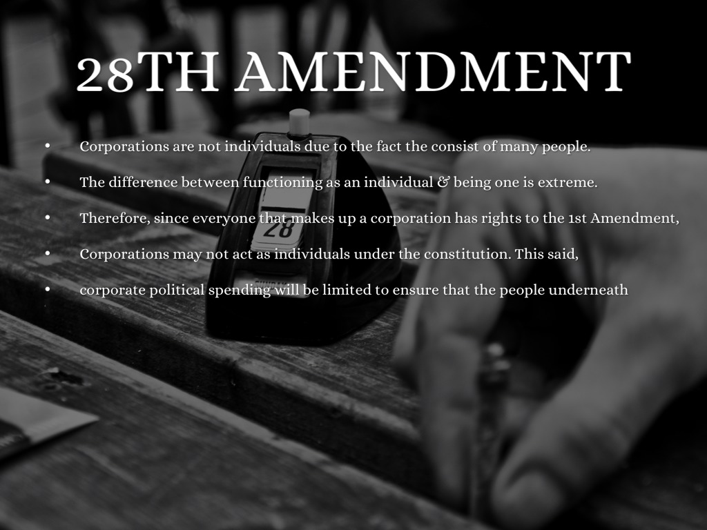 28th amendment The 28th amendment, also known as murphy's law, was enacted to protect the identities of supers it was brought in after a district attorney ordered the identity of cat-man-dude to be made public, which resulted in the terror killing his puma wife and their child-kittens.