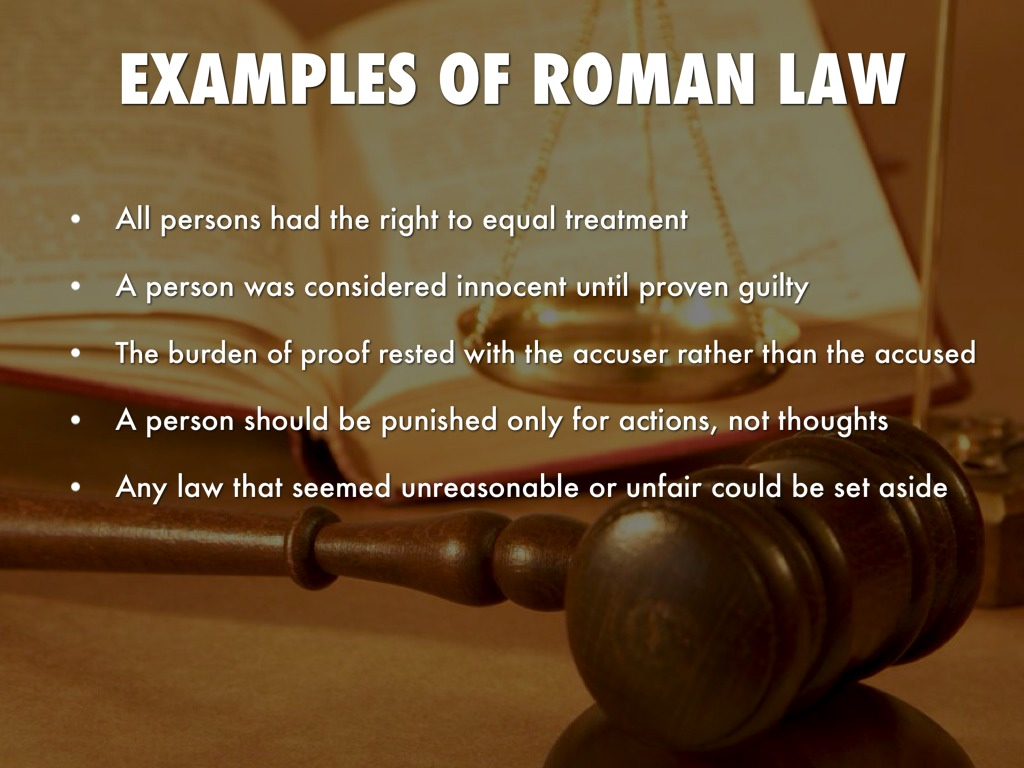 roman law Roman law between 753 bc and ad 1453, the legal principles, procedures, and institutions of roman law dominated western, and parts of eastern, civilization the legal systems.