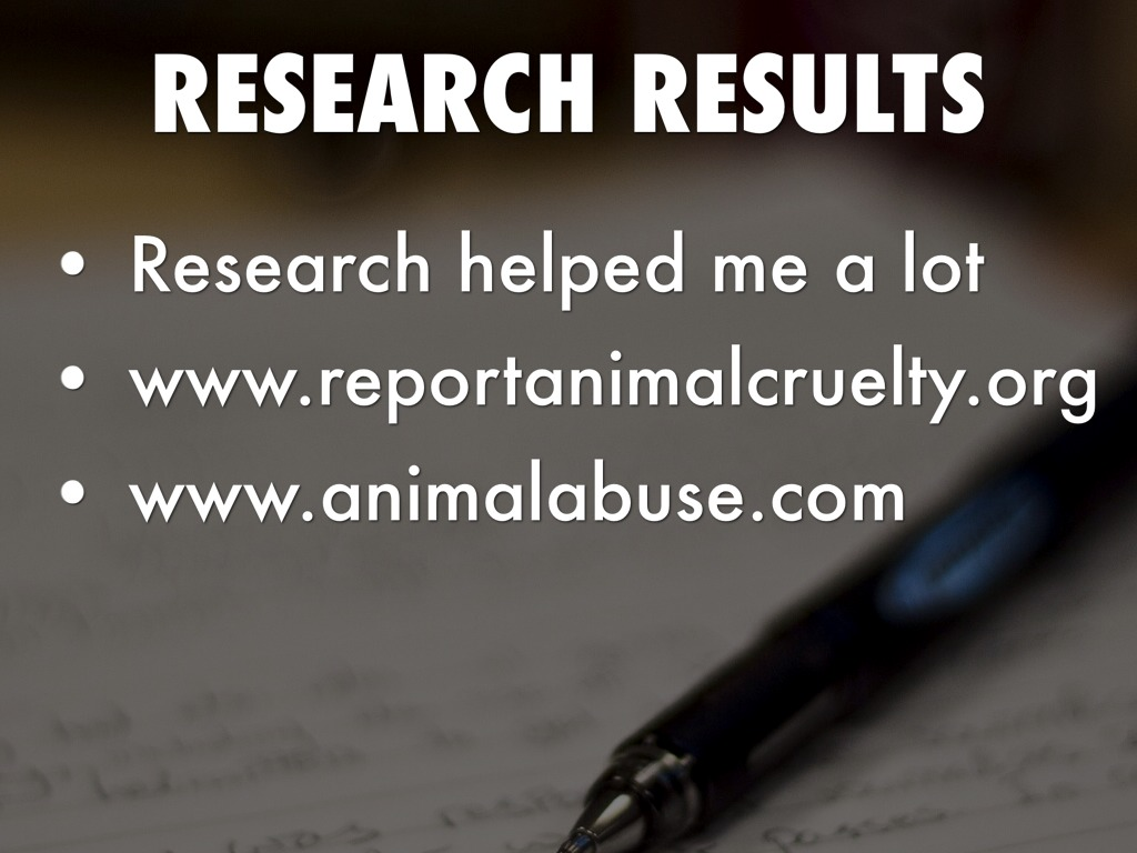 animal abuse research paper Download thesis statement on animal abuse in our database or order an original thesis paper that will be written by one of our staff writers and delivered according to the deadline.