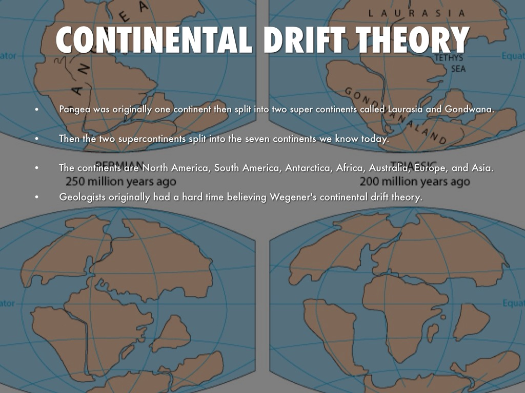 theory continental drift essay Continental drift is the theory that our the earth's continents rest upon plates that float across the molten mantle of the earth german scientist alfred wegner.