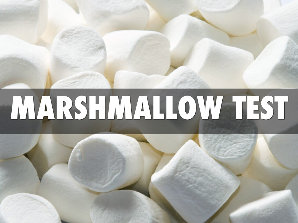 marshmallow experiment The marshmallow experiment designed to test the effects of delayed gratification in the experiment, children were brought into private rooms and sat down in front of a bowl of marshmallows.