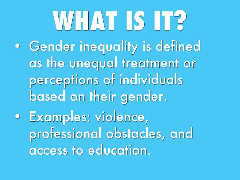 gender equality 5 essay Gender inequality, or in other words, gender discrimination refers to unfair rights between male and female based on different gender roles which leads to unequal treatment in life the term gender inequality has been widely known in human history but not until the beginning the 20th century has the.