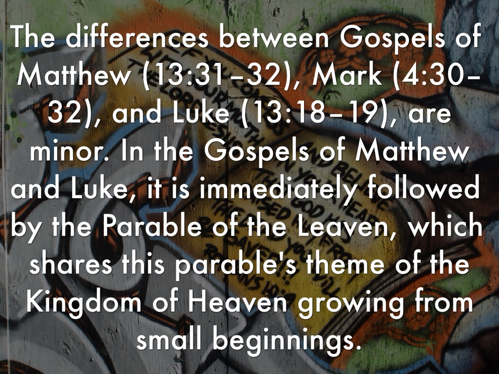 differences between matthew and mark Matthew was directed to the hebrews, mark was written for the romans, and  luke was  of course the gospel documents display some differences, even  when.