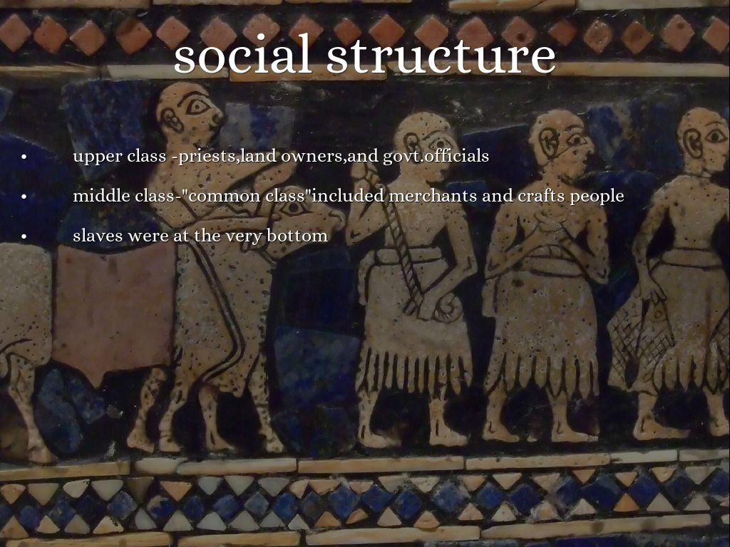 social class and sumerians 4500 bce to the downfall of sumer in 1750 bce, the people of the regions of   the populations of these cities were divided into social classes which, like.