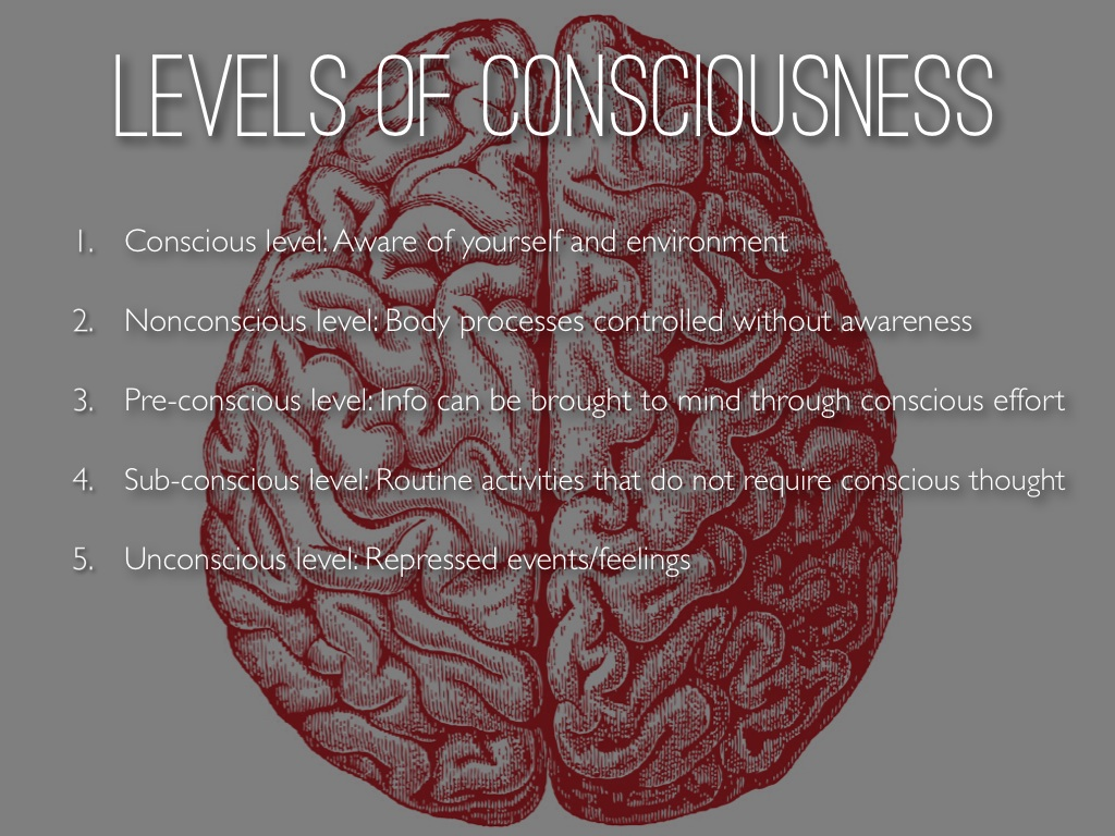 levels of consciousness in hypnosis and Consciousness: sleep, dreams, hypnosis, and drugs  consciousness is constantly changing  levels of awareness 2.
