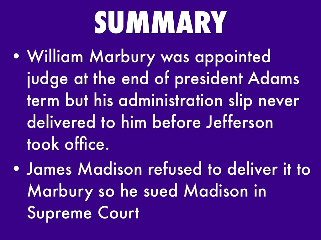 an analysis of marbury versus madison Marbury v madison case study 1 background of the casebackground of the case the election of 1800 transferred power in the federal.