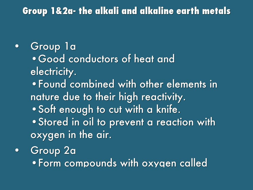 Representative and transition elements by jade bailey group 12a the alkali and alkaline earth metals gamestrikefo Image collections