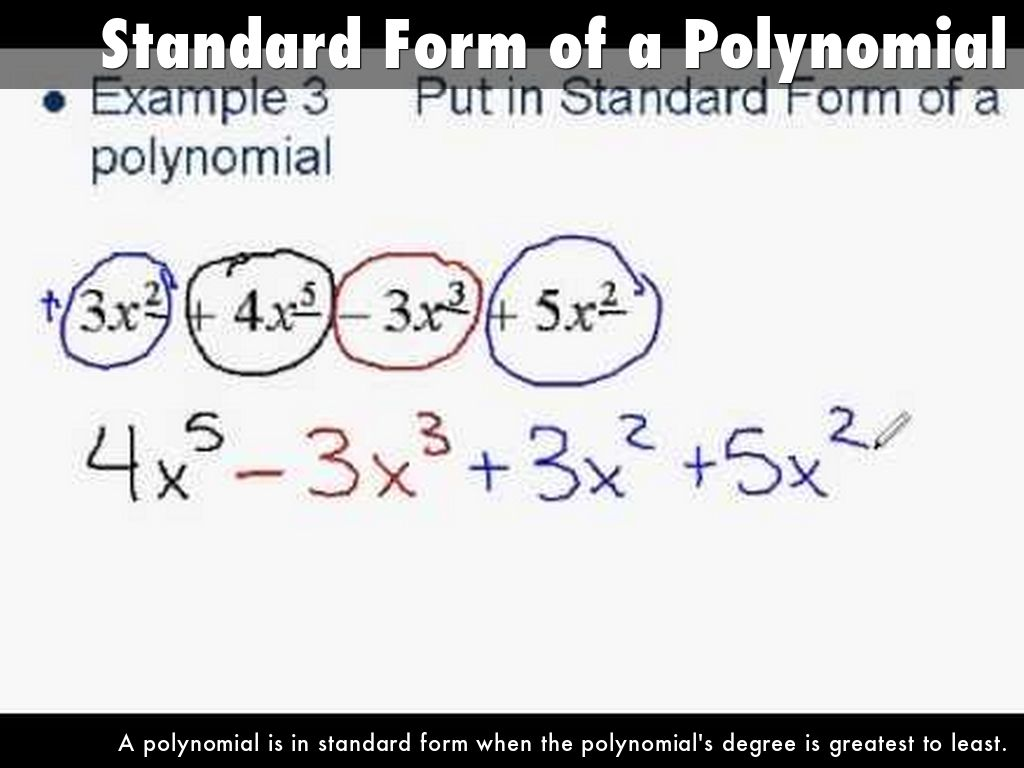 Polynomials and polynomial functions by 1315026741 standard form of a polynomial falaconquin