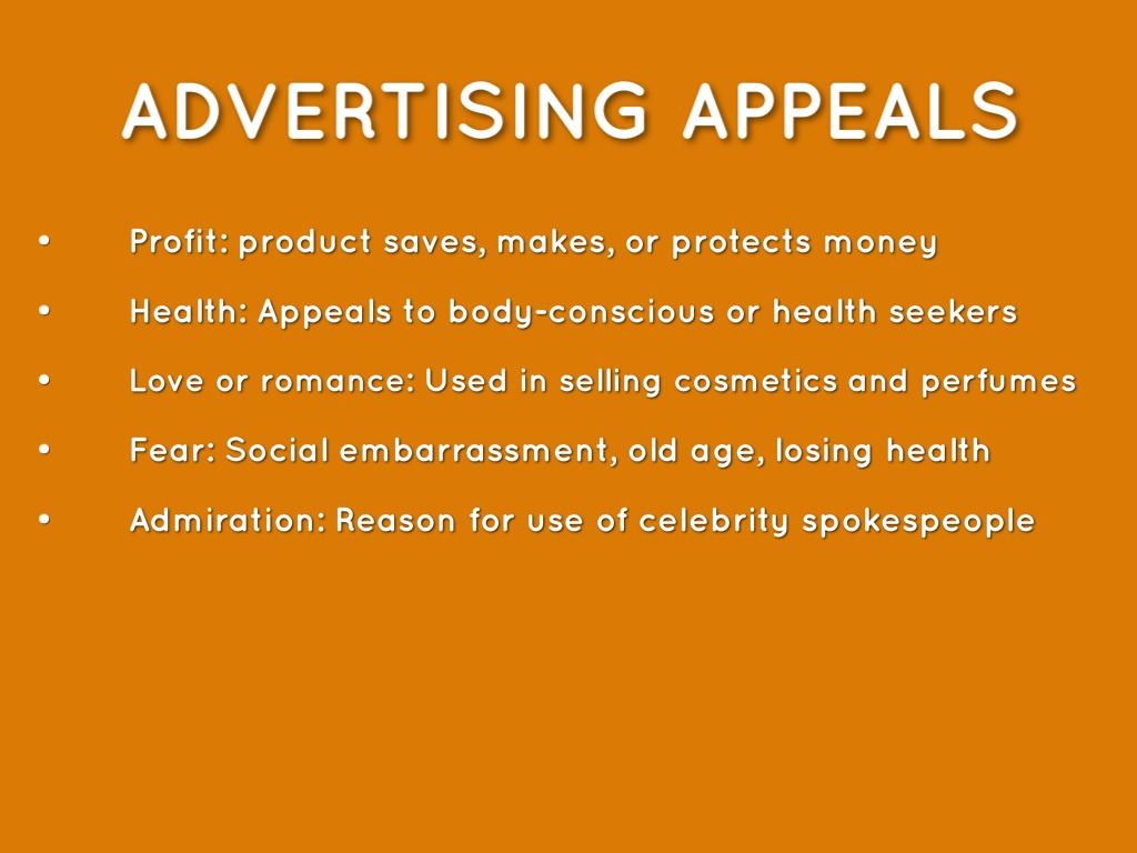 advertising appeals What is the personal appeal the personal appeal, also known as the emotional appeal, is one of roughly twenty advertising strategies that marketing professionals use to persuade people to buy a product, pay for a service, donate to a cause, or otherwise be persuaded the personal appeal seeks .