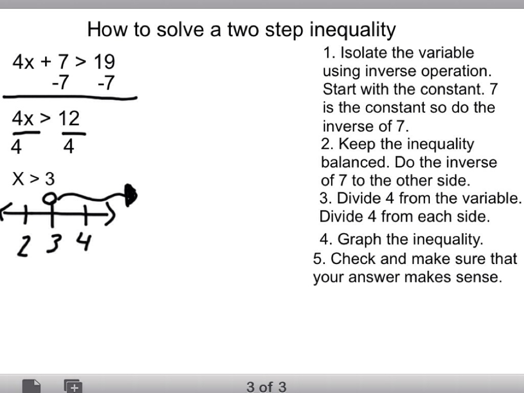 worksheet Two Step Inequalities how to solve two step equations and inequalities by untitled slide