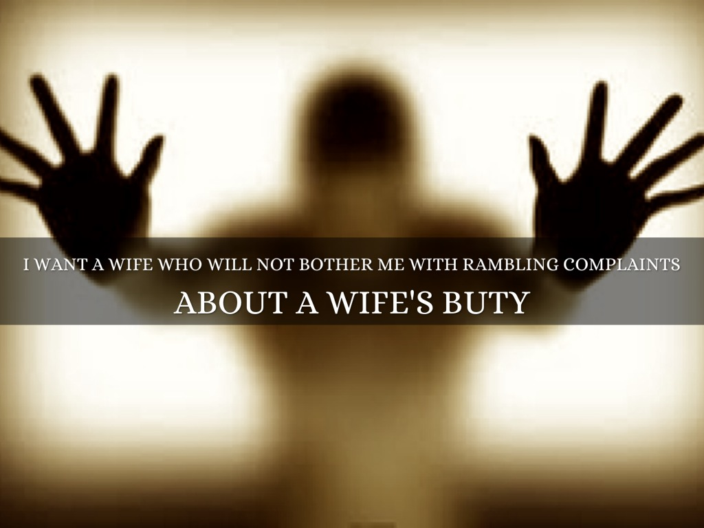 i want a wife by jannai de marcos i want a wife who will not bother me rambling complaints