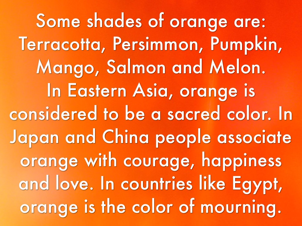 Shades Of Orange Names colour meanings