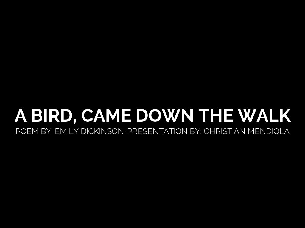 an overview of a bird came down the walk by emily dickinson