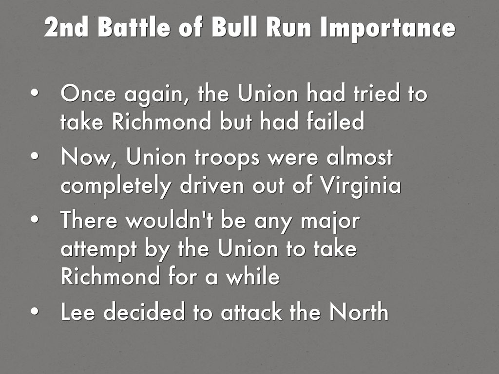 a description of the general for the second battle of bull run First battle of bull run date july 21,  general mcdowell planned to launch two separate attacks on the confederate forces, and split his forces into three columns.