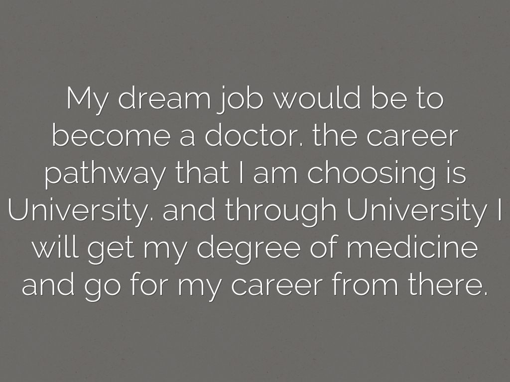 my dream job opinion My reflective journal after researching more into what i would have to do to work towards getting my dream job as a midwife i came across the nursing and midwifery access to 399 words 2 pages.