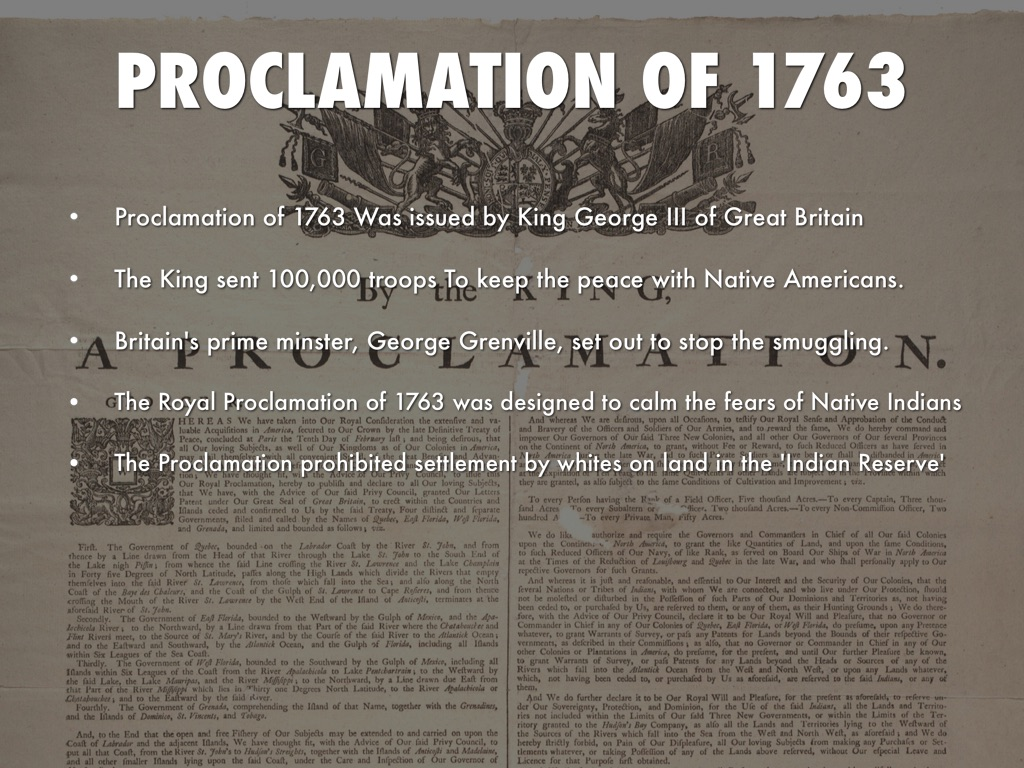 proclamation of 1763 native lands essay Essays « period 2: 1607 proclamation of 1763, 1763 a report on reaction to the stamp act, 1765 the stamp act, 1765 receipt for land purchased from the six.