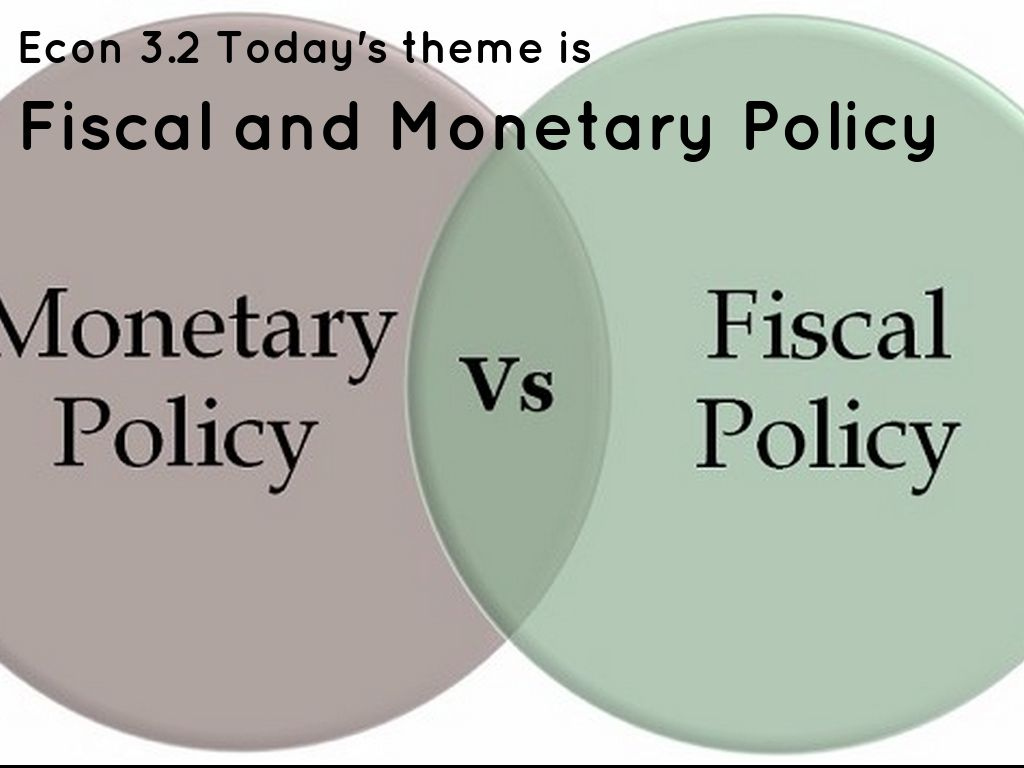 eco202 fiscal and monetary policy Fiscal policy - the power of the federal government to tax and spend in order to achieve its goals for the economy monetary policy - programs that try to increase or decrease the nations level of business by regulating the supply of money and credit.