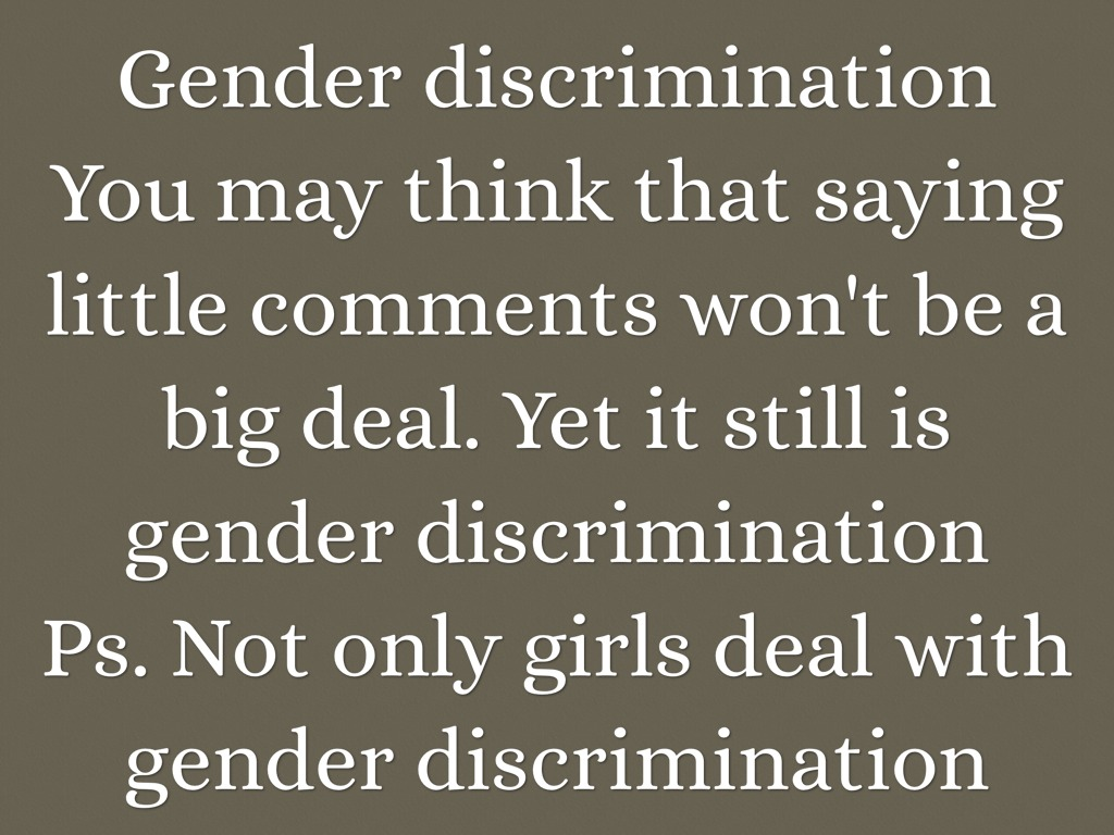 essays gender discrimination education Gender discrimination is the consequence of persistent inequality between men and women in all spheres of life the dimension and degree of discrimination against women.