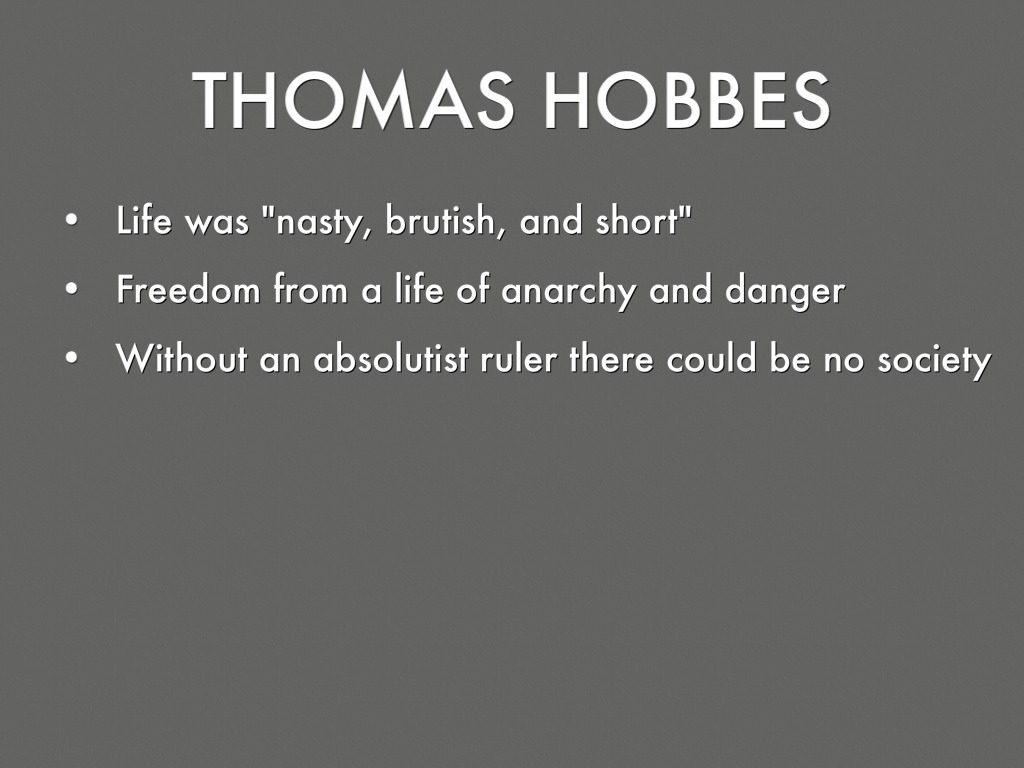 hobbes the absolutist answer Presentation on theme: thomas hobbes -the absolutist answer-— presentation transcript 2 who is thomas hobbes born april 5th 1588 in wiltshire, england english philosopher known for his works on political philosophy.