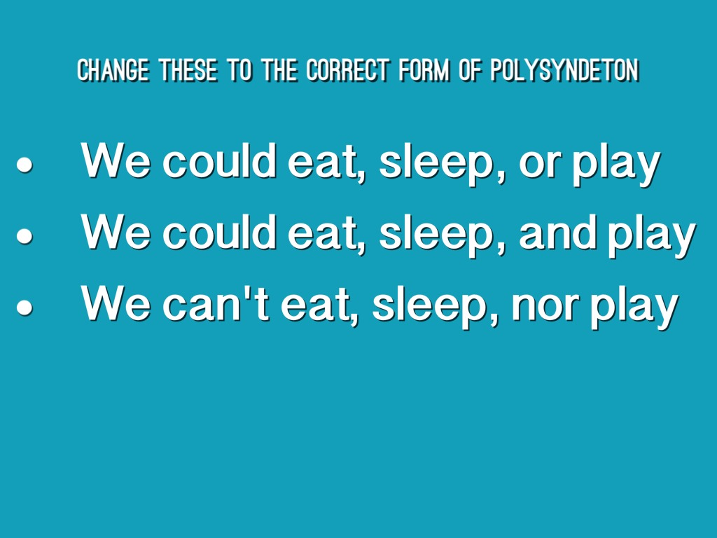 Polysyndeton By Sam Purches