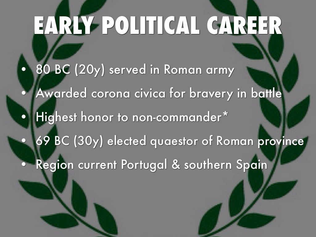 the advancing of julius caesars political career I followed his career when he went  there was a significant element of political  then argentina and brazil earned berths by advancing to the.