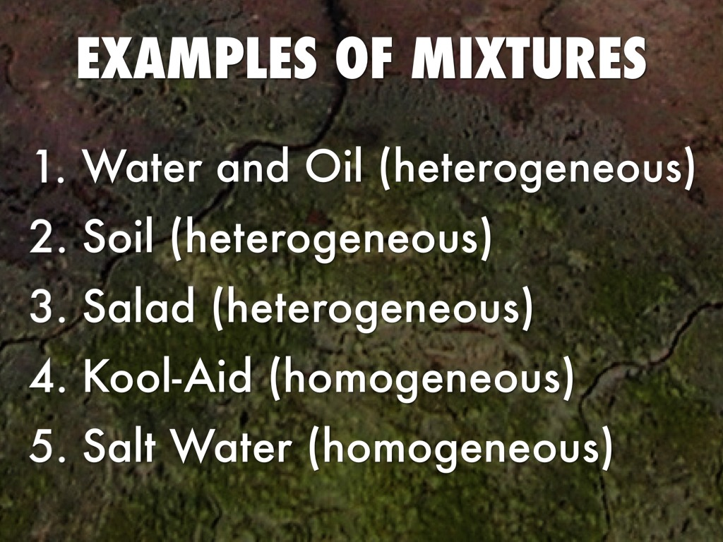 Elements compounds and mixtures by sonia sok for Soil homogeneous or heterogeneous