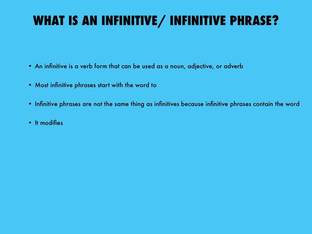 What is an infinitive