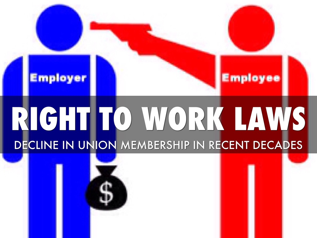 right to work laws House republicans plan to introduce a bill wednesday that would institute right-to-work policies in the entire country if it became law, delivering a severe blow to the labor movement right-to-work laws give workers the option to stop supporting unions while still enjoying the benefits of.