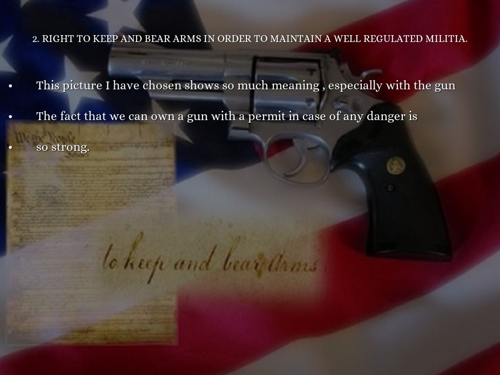 bearing arms essay The right to bear arms is an important part of our society bearing arms are and have been a big part of our nations past and click here to read his essay.