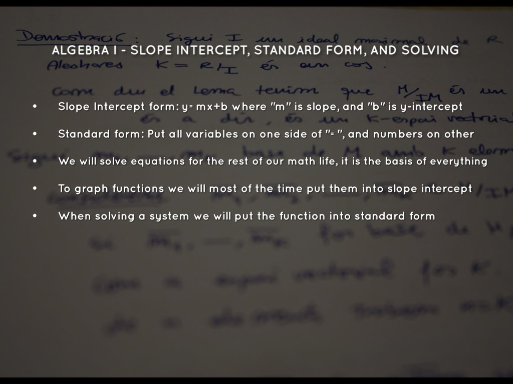 Algebra ii project by tyler hunt algebra i slope intercept standard form and solving falaconquin