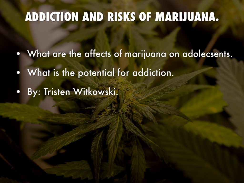 risks and effects of marijuana The short-term effects of marijuana use include problems with memory and learning distorted perception (sights, sounds, time, touch) difficulty in thinking and problem solving loss of coordination and motor skills increased heart rate, anxiety, bloodshot eyes, dry mouth.