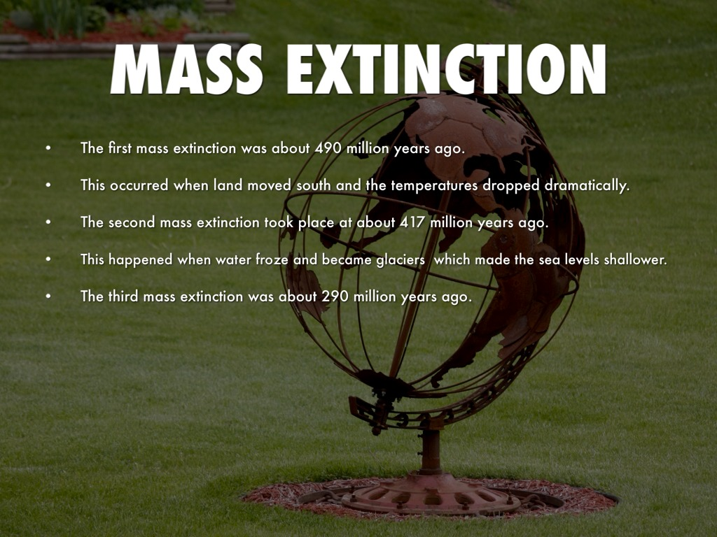 mass extinction The planet is undergoing what scientists call a mass extinction, mostly due to human activity, unlike the other major wipeouts that have occurred over the past half-billion years most scientists agree that a mass extinction event is underway with the earth's wildlife disappearing at an alarming rate, mainly due to human activity.