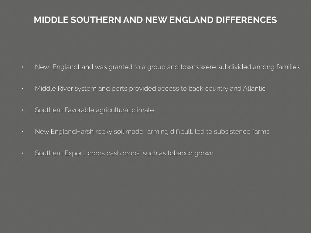 new england mid atlantic and southern colonies