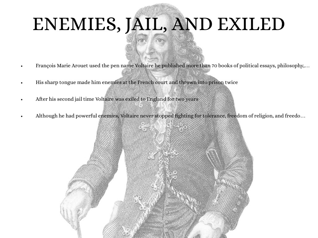 political essays voltaire Although he repeatedly warned against political bias on the part of the in a 1763 essay, voltaire supported the toleration of other religions and.