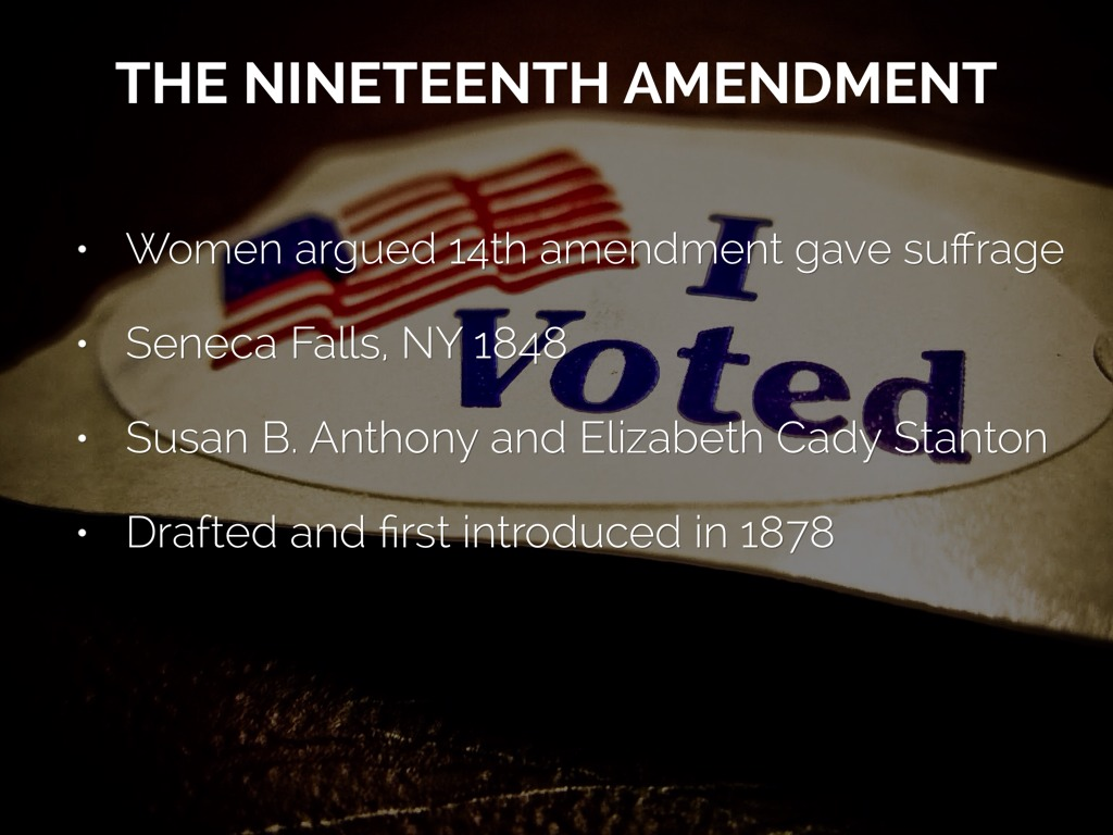 nineteenth amendment The 19th amendment overturns preexisting stipulations that deny citizens of the united states the right to vote on the basis of gender this amendment granted female citizens of the united states the right to vote.