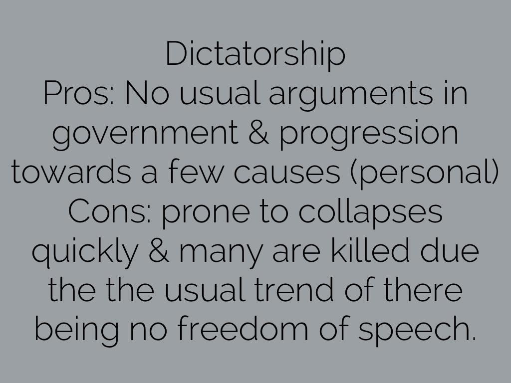 cons of dictatorship