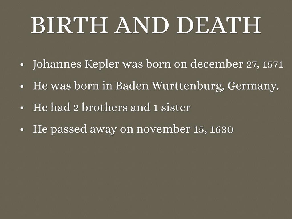 johannes kepler birth and death