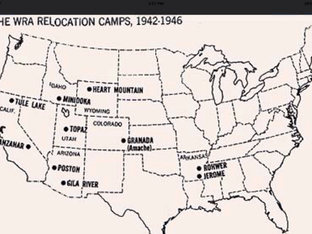 Japanese Internment By Brycereichardt - Map of japanese internment camps in us