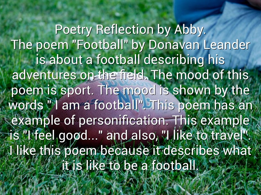 an overview of the football poem Immediately download the football summary, chapter-by-chapter analysis, book notes, essays, quotes, character descriptions, lesson plans, and more - everything you need for studying or teaching football.