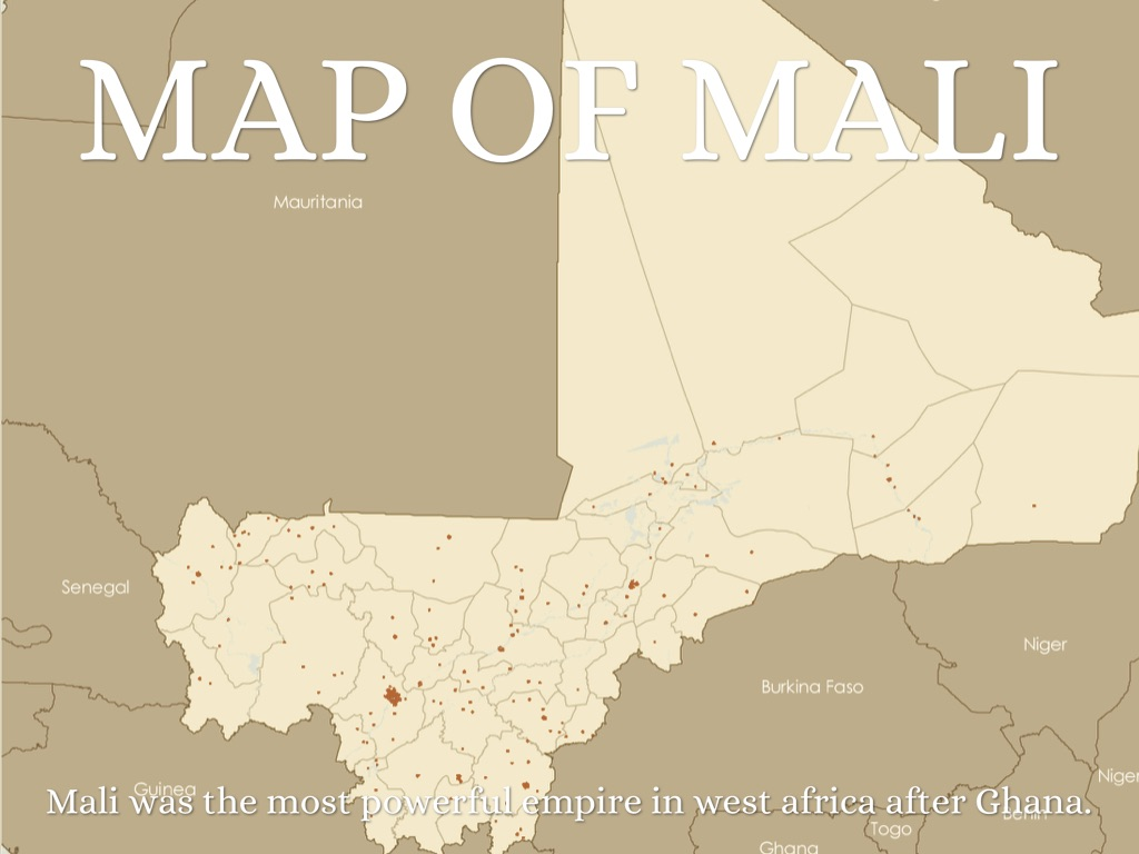 mali empire Only the southern part of mali is suited to farming, and less than 2% of mali's area is cultivated agriculture accounted for about 45% of gdp, 21% of.