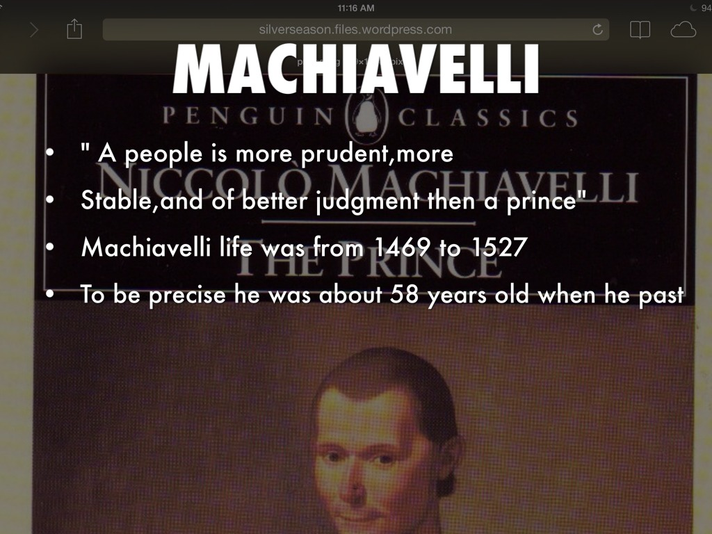 an outline for the prince by machiavelli Machiavelli outlines the was it written as an instruction book for princes and leaders as the prince by machiavelli , or is it a.