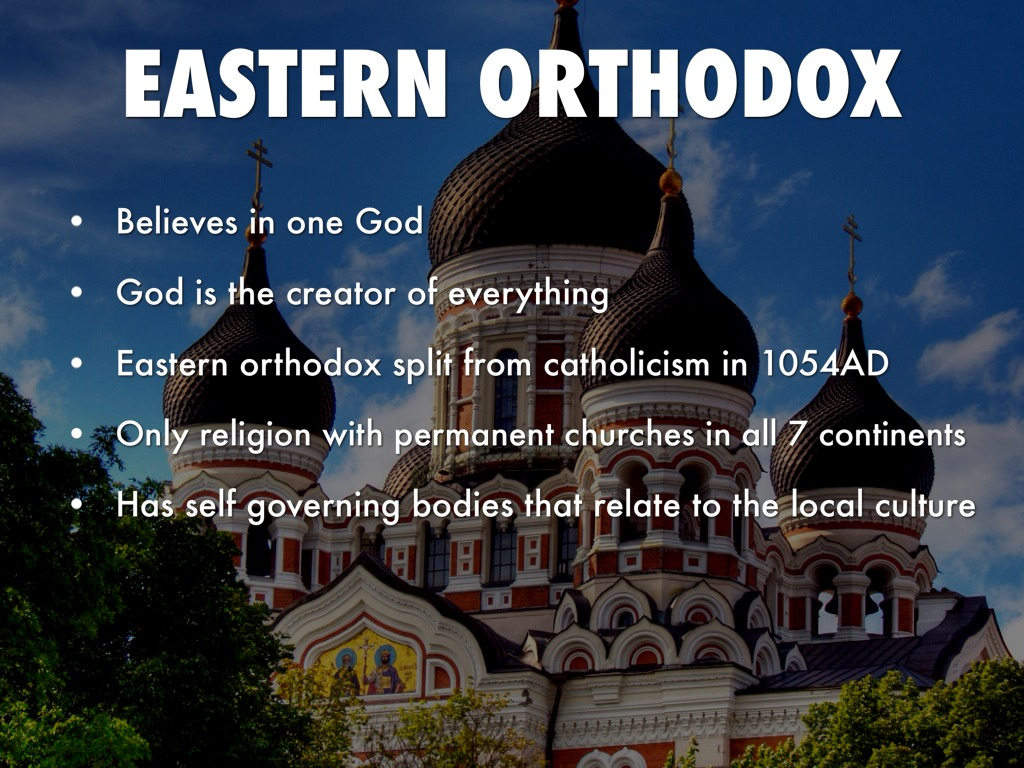 eastern orthodox The eastern orthodox church, a branch of christianity also known as eastern orthodoxy, orthodox christianity, or the orthodox church, is a body of christians largely living in eastern europe, egypt, and asia who use the byzantine rite and who recognize the patriarch of constantinople but are not in communion with the roman catholic church or.